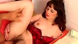 Hairy Mature Russian Fucked In The Bathroom