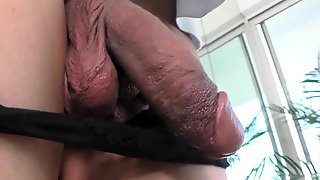 Solo Shemale Cums Tugging