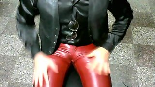 Leather Pants Leather Bots Satin Blouse