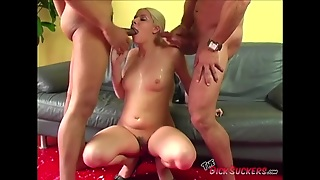 Facials From Two Dicks For A Cute Cocksucker