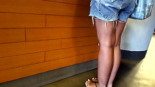 Gf's Hot Tanned Legs Sexy Long Feets Toes In Shorts