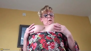 Stockings Look Sexy On A Busty Old Lady