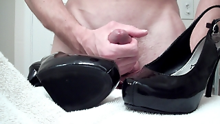 Cumming On Black High Heels
