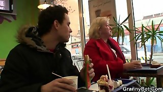 Huge Grandma Is Picked Up In The Cafe To Suck