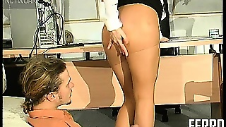 Naughty Blonde Secretary Appeals To Her Dirty Boss' Nylon Fetish