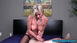 Fishnet Stockinged Milf Jerking Cock Pov