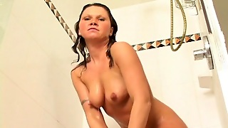Marvelous Solo Model With Natural Tits Masturbates On Shower