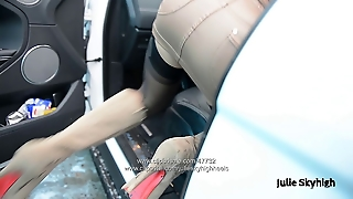 Carwash Leather Miniskirt & Stockings With Upskirt Voyeur