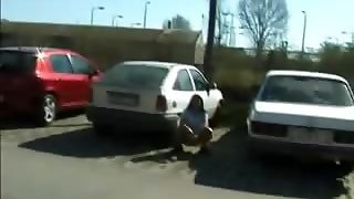 Crazy Bitch Urinates In Public