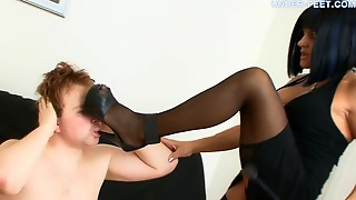 Bossy Mistress In Stockings Teases With Her Feet