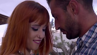 A Redhead That Loves To Suck Removes Her Bikini Outdoors And Gets To Work