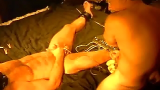 Cbt Electro Stim Contest Between A Muscular Master And A Huge Bod