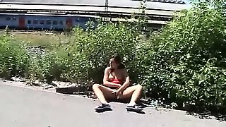 Teen Couple Outdoor Masturbation