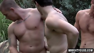 Outdoors, Threesome, Gay, Hunks, Gays, Anal, Ass, Big Dick, Twinks