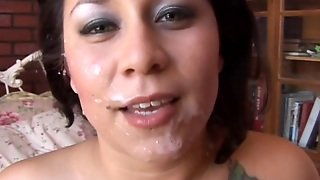 Cute Chubby Brunette Enjoys A Sticky Facial Cumshot