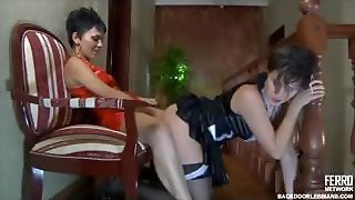 Obedient French Maid Services Her Mistresss Strapon Cock Orally And Anally