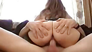 Bitch In Stockings Rides A Man's Penis