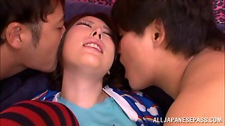 Wild Mmf Threesome Action With Sexy Japanese Vixen In Stockings