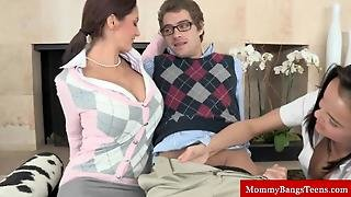 Busty Milf Instructs Teens On Oral Foreplay