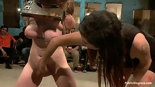 Shaved Vagina, Babe, Brunette, Bucket, Hot Tits, Tied Up, In Public, Rope Bondage, Disgrace, Pussy Fingering, Hd