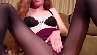 Pantyhose Loving Redhead Touches Herself At Night