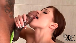 Girl Gently Washes And Sucks Black Cock In Bathroom