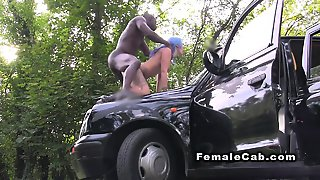 Interracial Anal On The Cabs Bonnet In Public