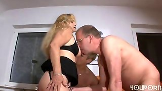 Short Haired Bbw Fucked In A Merciless Mature Threesome