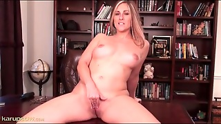 Curvy Mom In An Office Chair Masturbates Solo