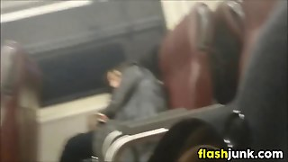 Flashing Dick On A Train For This Chick