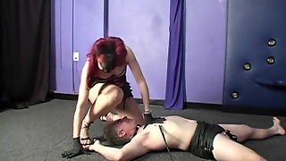 Domme Using Chastity Slave