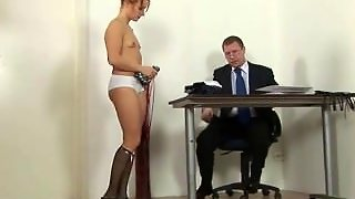 College Babe Spanked Hard By Principal