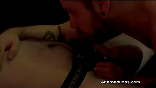 Hairy Tatted Dudes Suck Cock