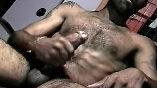 Hairy Black Cock Jerks Himself