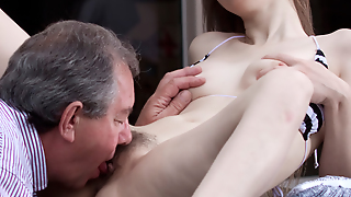 Lewd Youngster Sucking Oldman's Horny Dick Poison