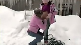 Sexy Lesbian Playing In The Snow