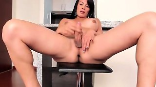 Bigtitted Shemale Jerking Her Hard Cock