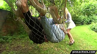 Lesbian Pissing Threesome On Hammock