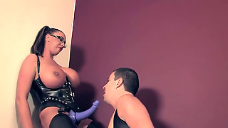 Strap On - Big Boobed Domina Fucks Men In Boots