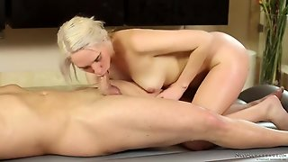 Hot Naked Body Of A Blonde Rubs All Over Him
