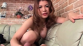 Sassy Japanese Redhead In Big Tits Giving A Fine Handjob