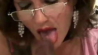 Mature Stocking Slut Interracial Blowjob Cumshot