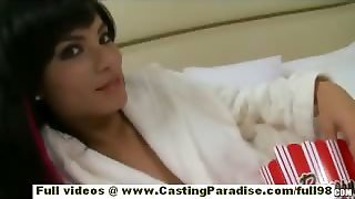 Sofia Brunette Solo Babe With Natural Tits Masturbating And