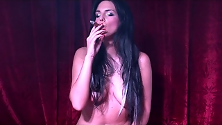 Busty Girl Cigar Smoking