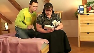 Busty Bookworm Bitch Seduced Into Blowjob And
