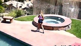 Guy Fucked Sexy Chick In Unusual Pose By Swimming Pool