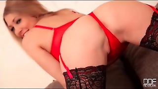 Big Tits Blonde Chick In Red And Black Lingerie