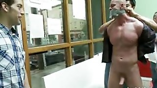 Public Bondage And Humiliation For This Stud