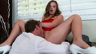 Sexy Slut In Red Dress Jillian Janson Gives Hot Blowjob To Ryan Mclane