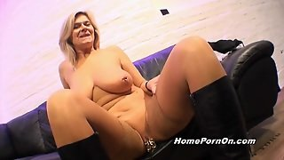Busty Mature Blonde Gets A Big Dick To Play With